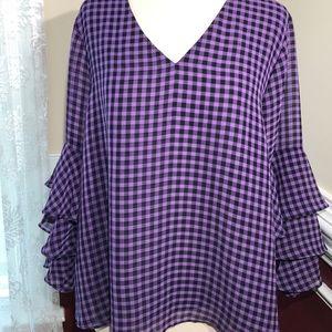 NWOT Liz Claiborne purple & black plaid blouse L